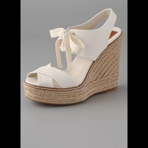 TORY BURCH Lace Up Wedge Espadrilles